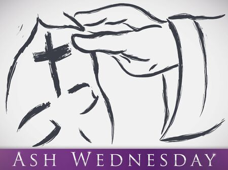 Poster with priest hand sprinkling the ash cross in the forehead of a parishioner in an Ash Wednesday commemoration in brushstrokes style and purple label.