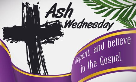 Commemorative banner for Ash Wednesday with traditional ash cross, palm branches and purple ribbon with biblical words.