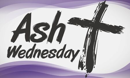 Banner with cross in brushstroke style for Ash Wednesday celebration and abstract purple waves in the background.
