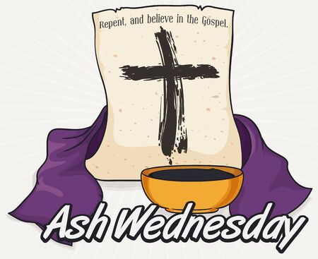 Poster with traditional elements to begin Lent celebration on Ash Wednesday: bowl with blessed ashes, purple stole and scroll with biblical words and cross drawing.