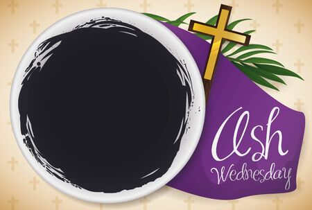 Banner with top view of bowl with blessed ashes, palm branch, purple stole and crucifix for the celebration of Ash Wednesday that mark the beginning of the Lent. Illustration