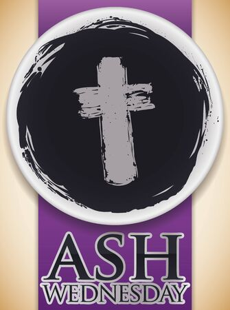 Commemorative poster for Ash Wednesday with top view of a bowl with blessed ashes and a cross shape in the bottom and purple stole.