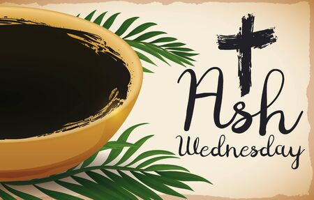 Banner with bowl with ashes of some palm branches that represents the beginning of the Lent on Ash Wednesday. Illustration