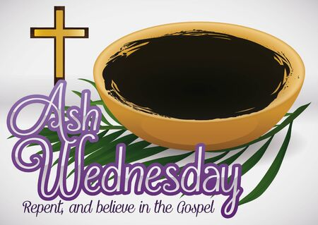 Poster for Ash Wednesday with bowl filled with blessed ashes, crucifix and palm branch representing the beginning of the Lent season. Vecteurs