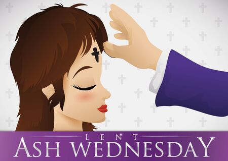 Poster for Ash Wednesday with priest arm giving to young woman the holy ash cross in her forehead.