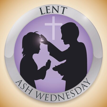 Silver round button with silhouettes of priest giving the cross to an parishioner in her forehead on Ash Wednesday celebration.