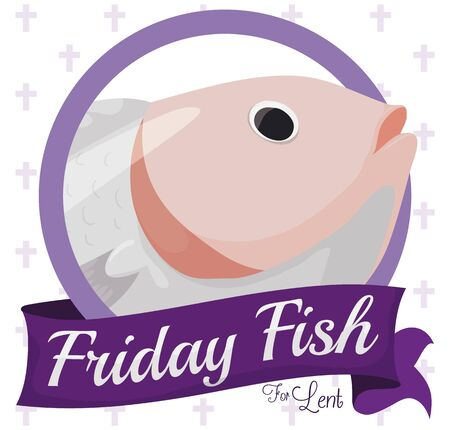 Round button with fish design and purple ribbon for Friday fish for Lent season.