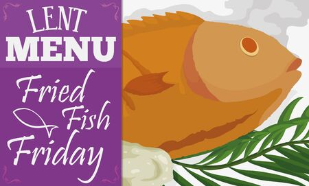 Banner with traditional menu for Lent fasting celebration: fried fish with fasting bread and palm leaves.