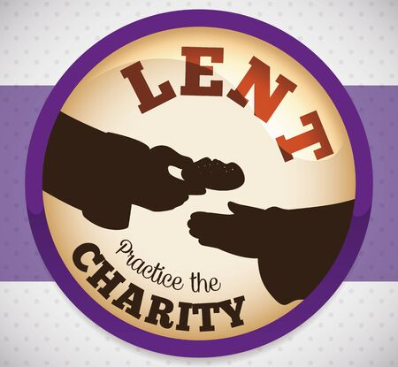 Round button with good people giving the charity action with bread to disadvantaged for Lent season.