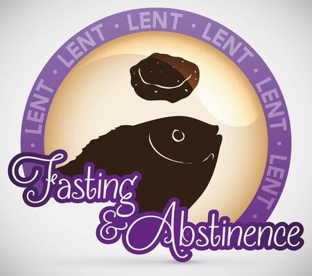 Fasting menu for Lent celebration: fish and fasting bread silhouettes over a glossy button with purple frame.  イラスト・ベクター素材