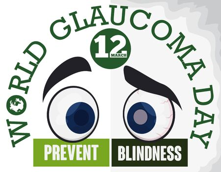 Poster for World Glaucoma Day with two eyes in cartoon style: one healthy and the other suffering some of this symptoms, promoting the prevention of blindness due this disease.