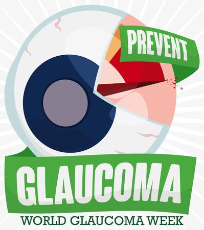 Commemorative poster for World Glaucoma Week with a eyeball opened and representing a manometer, with ribbons promoting prevention against this ocular disease.