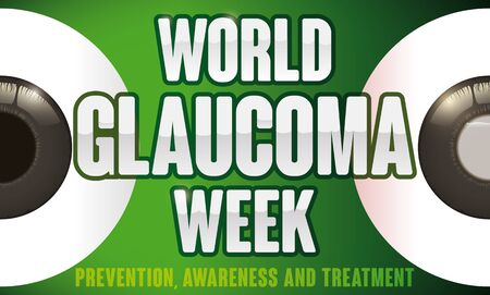 Banner for World Glaucoma Week with a couple of eyes: one healthy and other affected for this ocular disease, promoting prevention, awareness and opportune treatment.