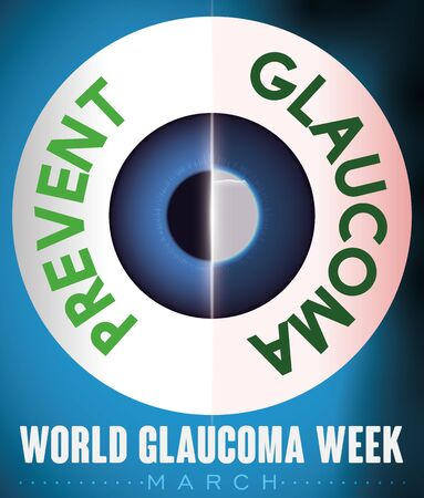Comparative design of a healthy and sick eye with liquid accumulation and diminished vision, to promote prevention for World Glaucoma Week in March. Illusztráció