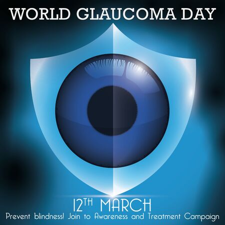 Commemorative design for World Glaucoma Day with a glowing shield protecting an eye of the blindness due to this ocular disease.