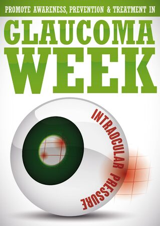 Poster for World Glaucoma Week with some precepts and a glossy eyeball representing this sickness: high intraocular pressure, damage in optic nerve and accumulation of aqueous humor.
