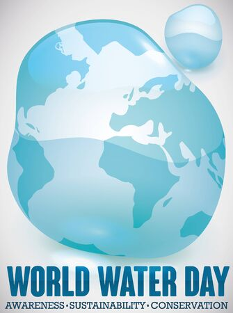 Water drop resembling a world map to commemorate the World Water Day promoting awareness, sustainability and conservation of this vital liquid.