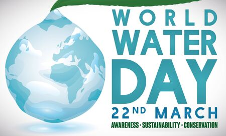 Banner with a beautiful interaction of nature elements: water drop with globe inside and leaf, representing the balance of environment and sustainability in World Water Day celebration. Ilustrace
