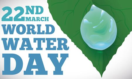 Banner with water drop sliding in a leaf, promoting the balance between nature and sustainability for World Water Day in March 22.