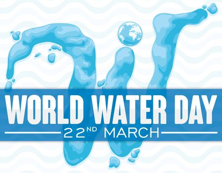 Poster with reminder date and giant W letter in liquid effect for World Water Day commemoration over wave pattern.