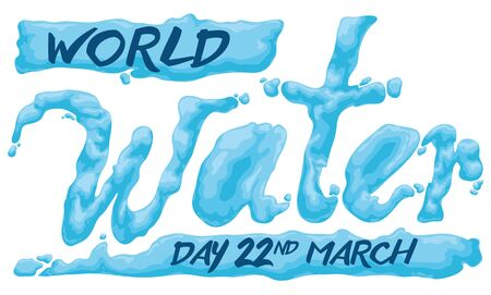 Banner for World Water Day with a watery effect in the typography and with reminder date to commemorate it in March 22.