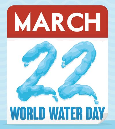 Commemorative design for World Water Day with loose-leaf calendar with reminder date in watery effect to celebrate this holiday. 일러스트