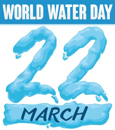 Special poster design for World Water Day with giant number 22 written with this important liquid. 일러스트
