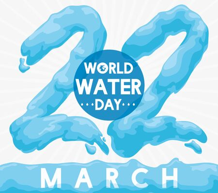 Poster with reminder date for World Water Day with giant number 22 written with water. 일러스트