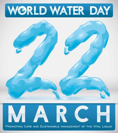 Poster with water effect in number of reminder date for World Water Day celebration. 일러스트
