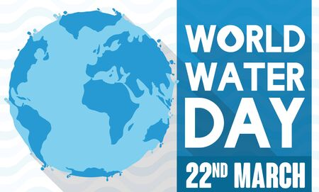 Banner with a Earth Planet covered by water in flat style and long shadow effect commemorating World Water Day.