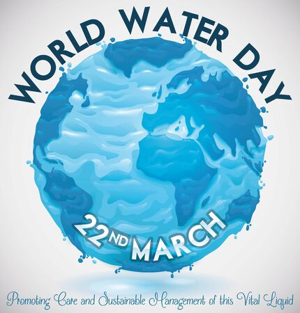 Poster with watery design of Earth globe for World Water Day celebration in March 22.