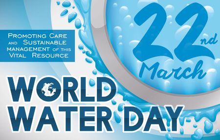 Banner with round button design with bubbles in its interior, water splashes in the edges around it and a greeting message for World Water Day celebration. 일러스트