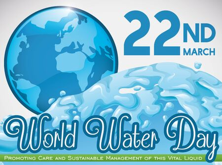 Beautiful Earth planet in a blue button, all in blue with a wave surge to commemorate World Water Day with some precepts in March 22.