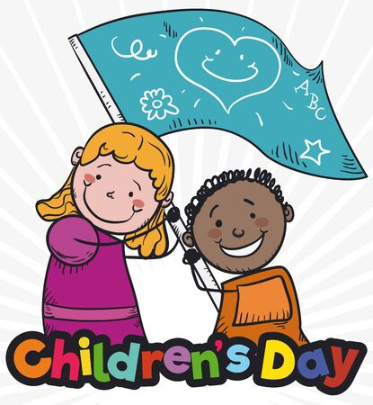Poster with cute pair of kids waving a greeting flag to commemorate values like care, love and education in Children's Day.
