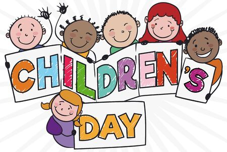 Poster with friendly multi-ethnic kids holding a greeting sign to celebrate Children's Day. Vectores