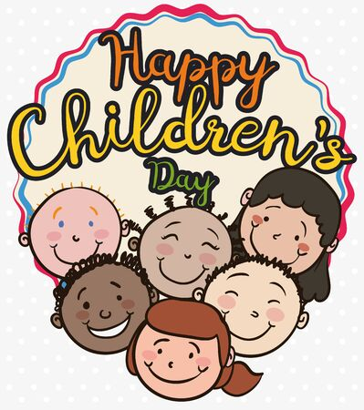 Poster with multicultural kids smiling all together to celebrate Children's Day.