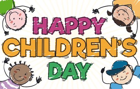 Banner in doodle style with cute multi-ethnic kids design to celebrate Children's Day. Ilustração