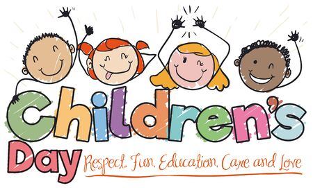 Banner in doodle style with happy children celebrating and saluting at you in Children's Day.