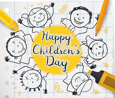Poster with school supplies, notebook paper and cute children drawing around greeting label to celebrate Children's Day.