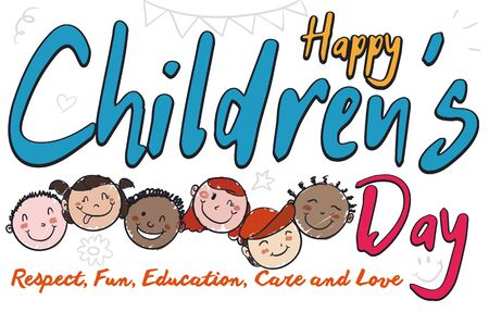 Commemorative design in doodle style with happy multiracial kids ready to celebrate Children's Day.