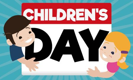 Banner in flat style with cute pair of kids hugging a loose-leaf calendar to celebrate Children's Day. 일러스트
