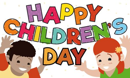 Banner with a pair of happy kids celebrating Children's Day.