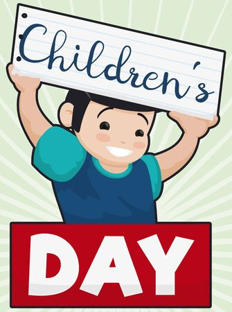 Poster with smiling boy holding a greeting sign in a notebook paper to celebrate Children's Day.