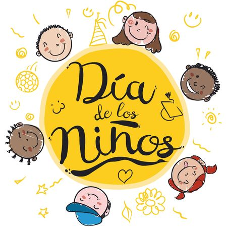 Poster with mischievous children winking at you in Children's Day (written in Spanish) with doodles around.