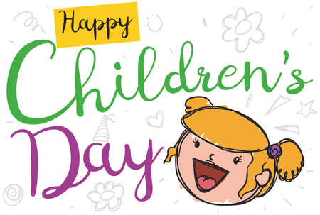 Cute blonde girl in doodle style announcing that Children's Day is coming and promoting the celebration of this day with funny drawings in the background.
