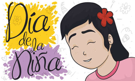 Banner with happy smiling young girl with flower celebrating Children's Day (special Girl Child Day, written in Spanish) with funny doodle drawings in the background.