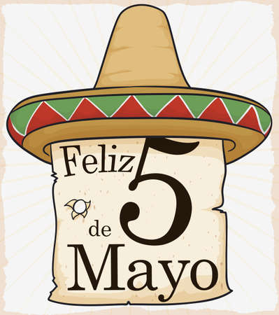Poster with Mexican straw hat for traditional celebration of Cinco de Mayo (written in Spanish) and a greeting scroll with shoot, to commemorate it.