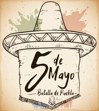 Hand drawn poster with traditional Mexican straw hat and pennant with fringes Cinco de Mayo (written in Spanish) celebration with reminder sign of Battle of Puebla.