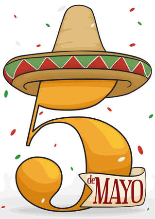 Poster with festive design for Mexican celebration of Cinco de Mayo (written in Spanish) with giant number five, straw hat and confetti shower. Illustration
