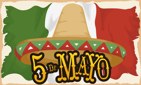 Banner with traditional Mexican straw hat and aged flag to celebrate Cinco de Mayo (written in Spanish).